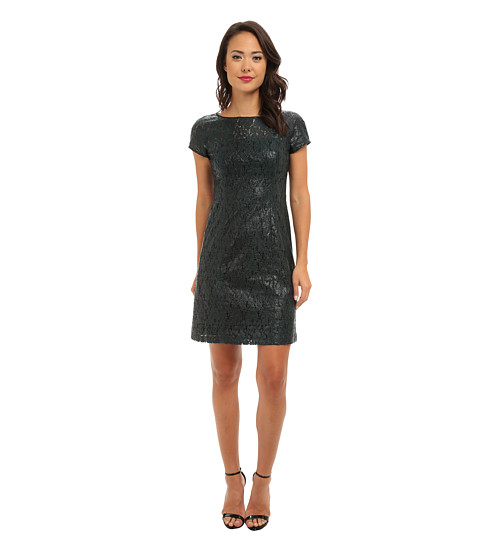 Donna Morgan - Laquered Lace Seamed Body Con Dress (Dark Teal) Women