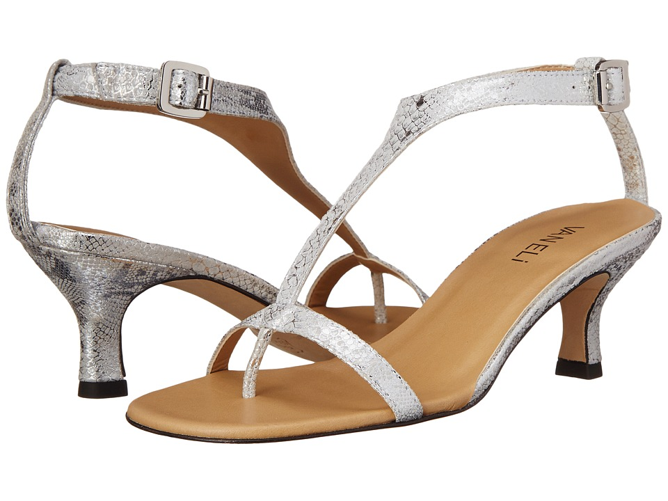 Vaneli - Marlina (White Cabry Print/Silver Buckle) Women's Dress Sandals