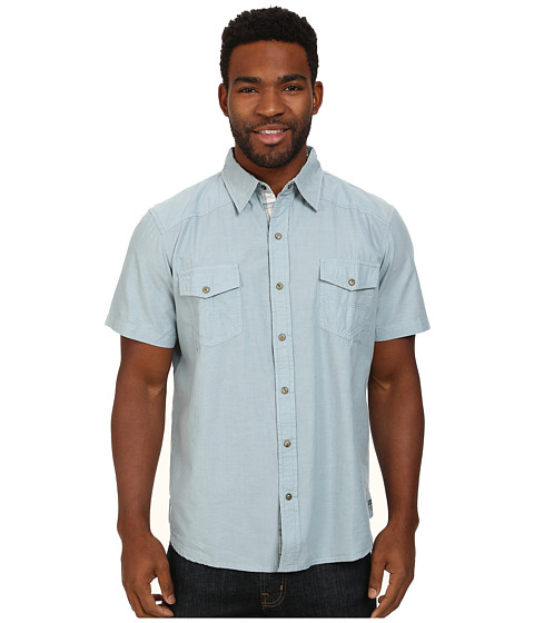 Ecoths - Carson Shirt (Lake Blue) Men's Short Sleeve Button Up