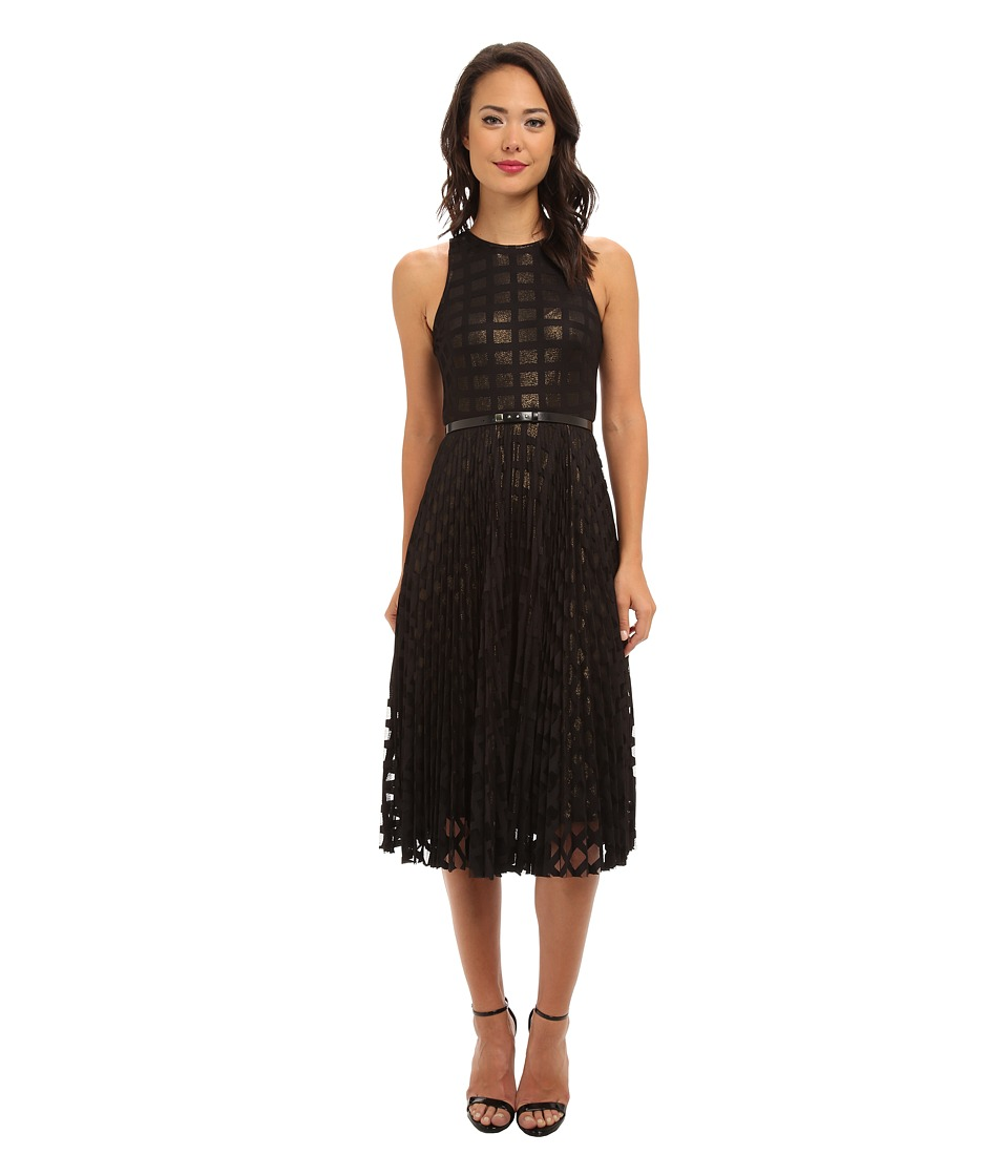 Donna Morgan - Pleated Windowpane Lace Dress w/ Metallic Gold Lining (Black) Women