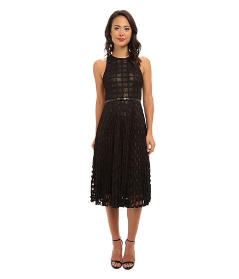 Donna Morgan - Pleated Windowpane Lace Dress w/ Metallic Gold Lining (Black) Women