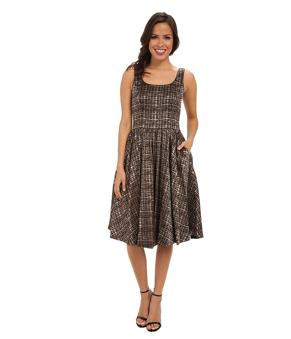 Donna Morgan - Woven Strapless Jacquard Fill Skirt Dress (Brown/Gold) Women's Dress