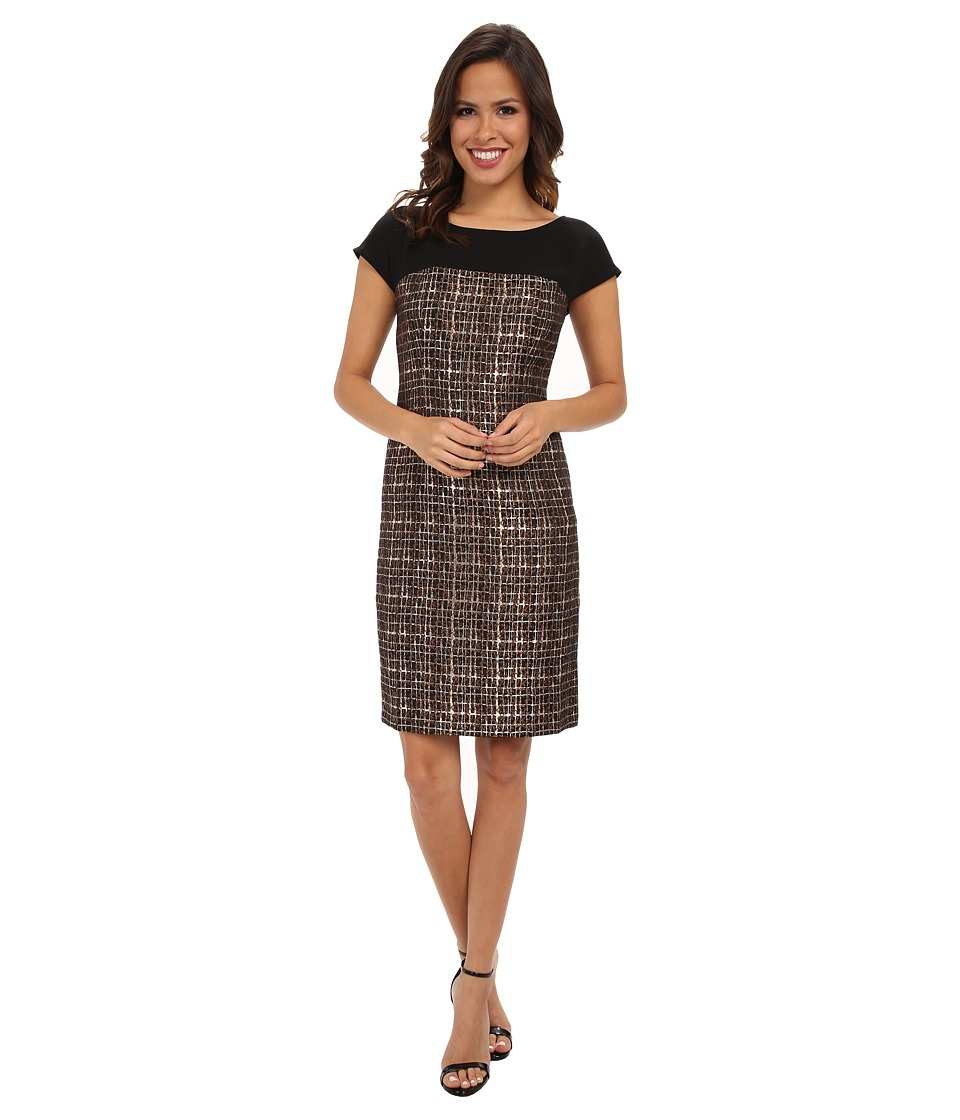 Donna Morgan - Short Sleeve Sheath w/ Illusion Shoulders (Brown/Gold) Women