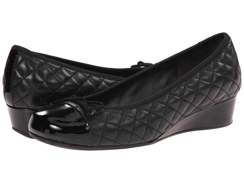 Vaneli - Melore (Black Quilted Nappa/Black Mag Patent/Match Elastic) Women's Dress Flat Shoes