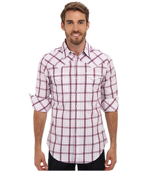 Stetson - Box Wine Plaid Snap (Wine) Men's Clothing