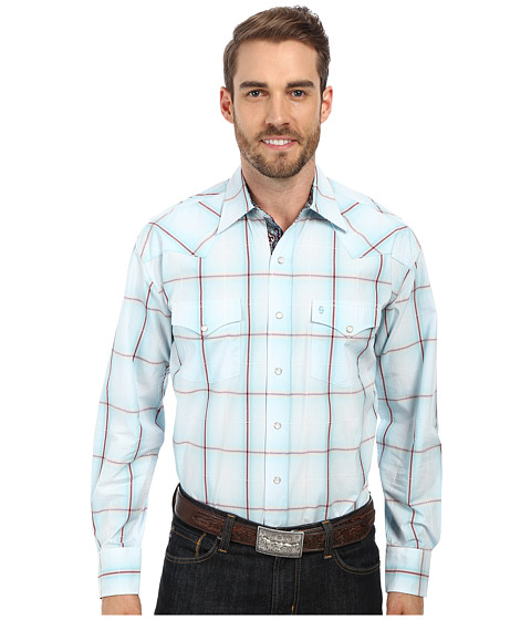 Stetson - Frosted Windowpane Snap (Blue) Men's Clothing