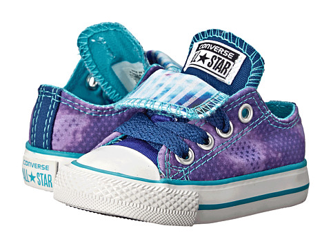 Converse Kids - Chuck Taylor All Star Double Tongue Ox (Infant/Toddler) (Periwinkle/Midnight Hour/Peacock) Girls Shoes
