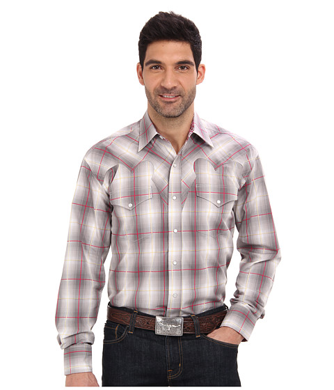 Stetson - Chalk Line Ombre Plaid (Grey) Men's Clothing