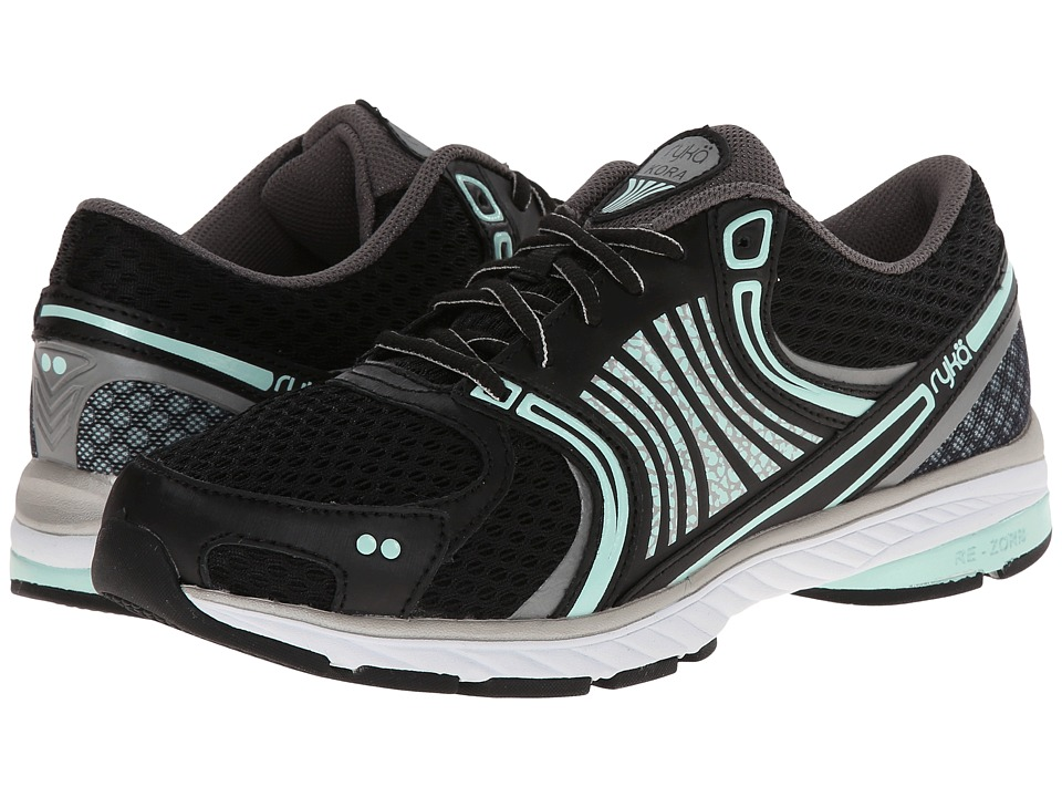 Ryka - Kora (Black/Metallic Steel Grey/Mint Ice/Metallic Steel Gold) Women's Running Shoes