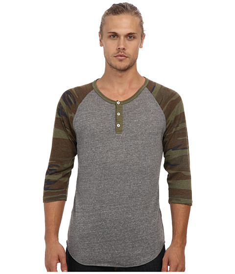 Alternative - Printed 3/4 Raglan Henley (Eco Grey/Camo) Men's Long Sleeve Pullover