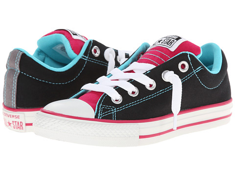 Converse Kids - Chuck Taylor All Star Street Slip (Little Kid/Big Kid) (Black/Berry Pink/Peacock) Girl's Shoes