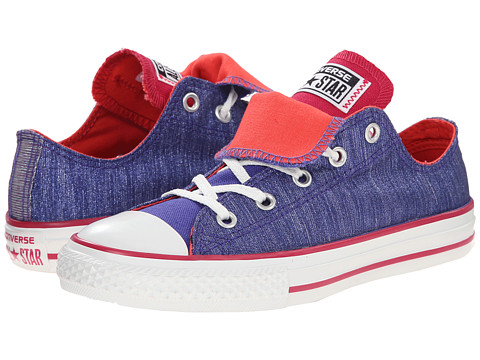 Converse Kids - Chuck Taylor All Star Double Tongue Shine Ox (Little Kid/Big Kid) (Periwinkle/Berry Pink/Blush) Girls Shoes