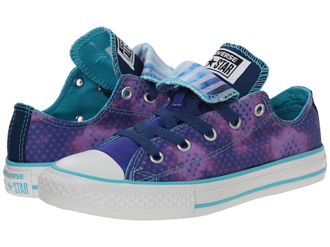 Converse Kids - Chuck Taylor All Star Double Tongue Ox (Little Kid/Big Kid) (Periwinkle/Midnight Hour/Peacock) Girls Shoes