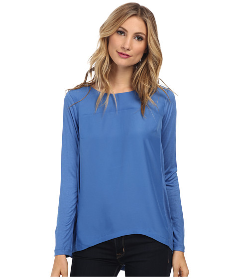 NIC+ZOE - Mixed + Zip Top (Marine) Women's Long Sleeve Pullover