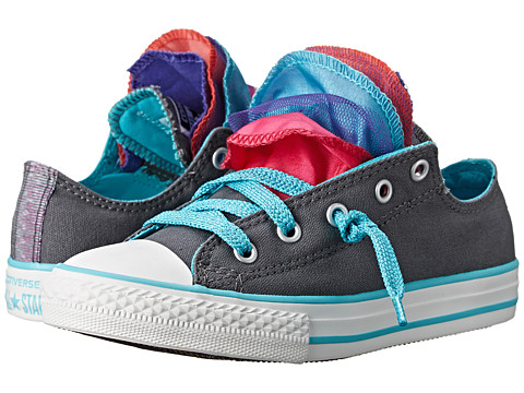 Converse Kids - Chuck Taylor All Star Party Shine Slip (Little Kid/Big Kid) (Thunder/Peacock/Berry Pink) Girls Shoes