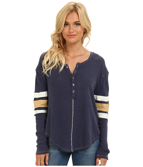 Free People - Game Time Henley (Navy Combo) Women's Long Sleeve Pullover