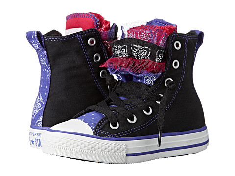 Converse Kids - Chuck Taylor All Star Party Bandana Print Hi (Little Kid/Big Kid) (Black/Periwinkle/Berry Pink) Girls Shoes