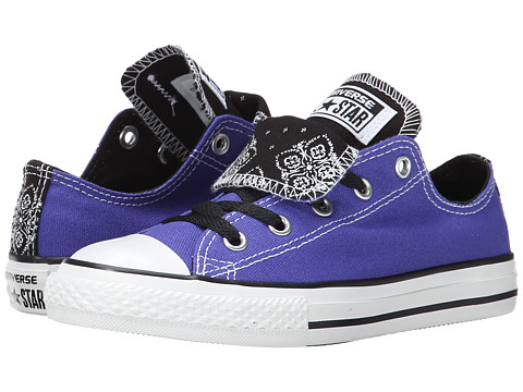 Converse Kids - Chuck Taylor All Star Double Tongue Bandana Print Ox (Little Kid/Big Kid) (Periwinkle) Girls Shoes