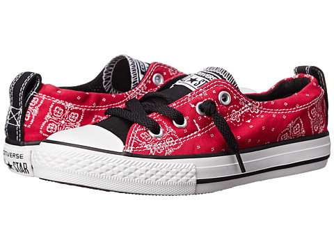 Converse Kids - Chuck Taylor All Star Shoreline Bandana Print Slip (Little Kid/Big Kid) (Berry Pink) Girls Shoes