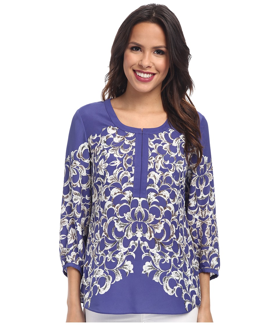 NIC+ZOE - Paradise Now Textured Crepe Shirt (Multi) Women's Long Sleeve Pullover