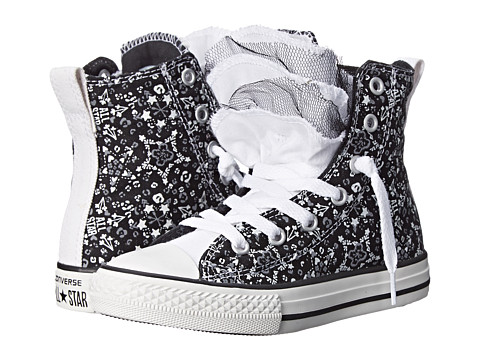Converse Kids - Chuck Taylor All Star Party Star Print Hi (Little Kid/Big Kid) (Black/White) Girls Shoes