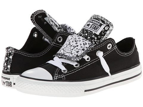 Converse Kids - Chuck Taylor All Star Double Tongue Star Print Ox (Little Kid/Big Kid) (Black/White/Dolphin) Girls Shoes