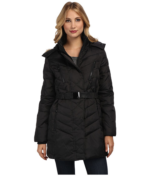 Sam Edelman - 3/4 Belted Down Jacket (Black) Women's Coat