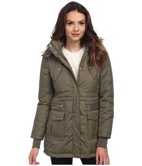 Sam Edelman - Down Anorak w/ Pop Color Lining Jacket (Olive) Women