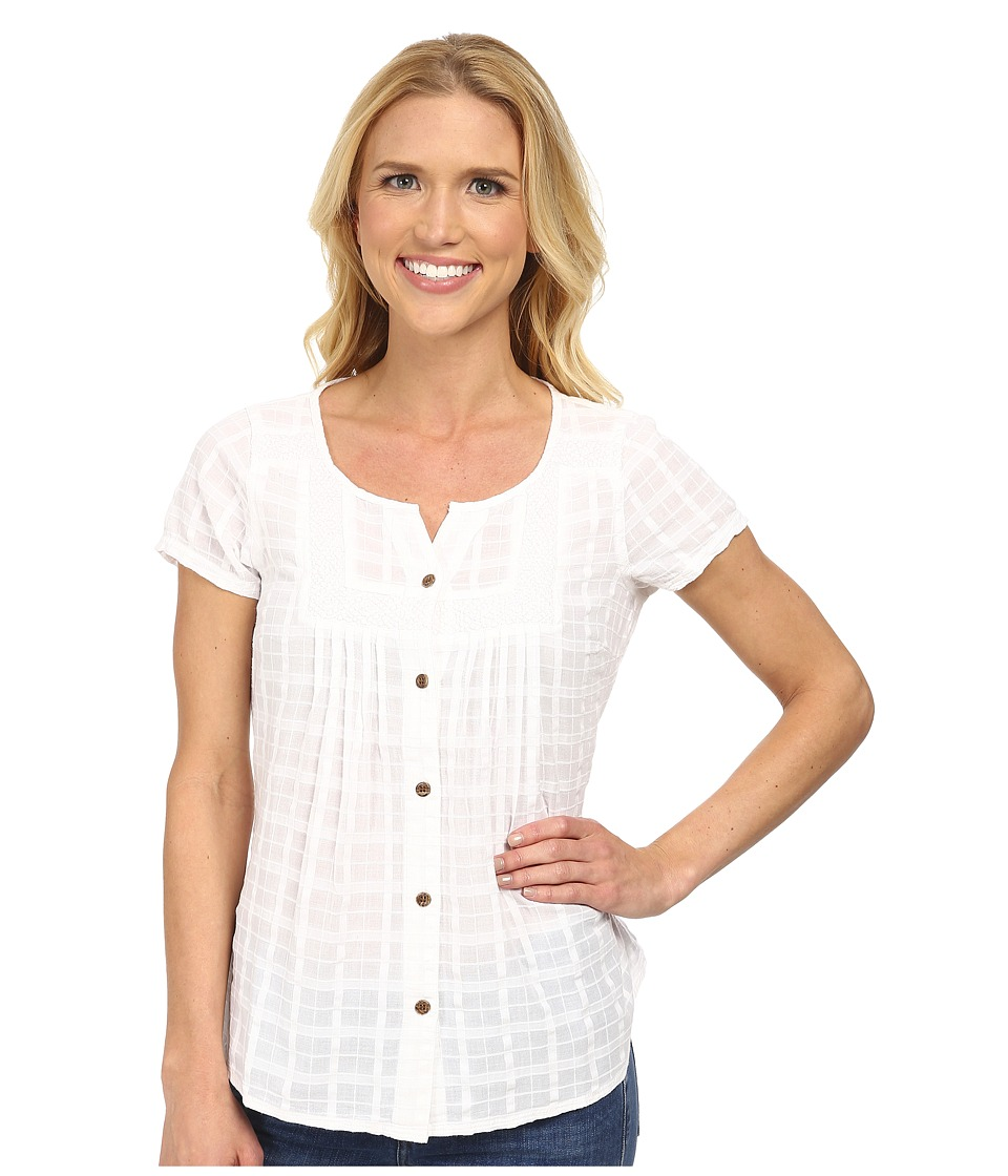 Prana - Lucie Top (White) Women's Short Sleeve Button Up