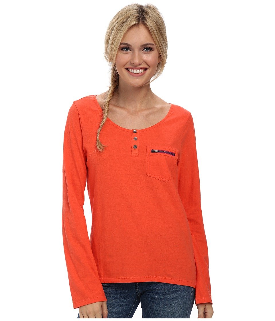 Prana - Jess Top (Neon Orange) Women's Long Sleeve Pullover