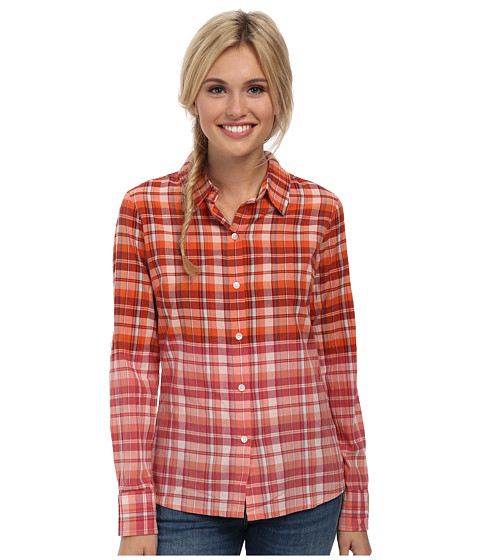 Prana - Britt Top (Electric Orange) Women's Long Sleeve Button Up