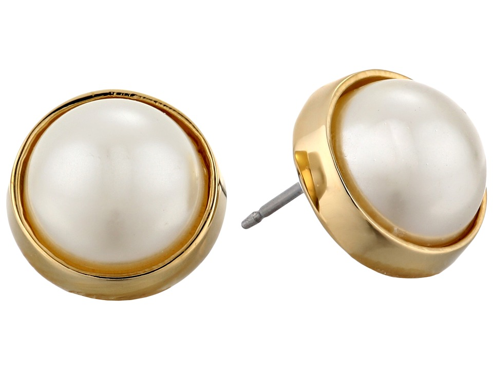 LAUREN by Ralph Lauren - Bar Harbor 10mm Bezel Set Pearl Stud Earrings (Pearl/Gold) Earring