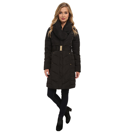 Brigitte Bailey - Shawl Collar Belted Down Coat (Black) Women