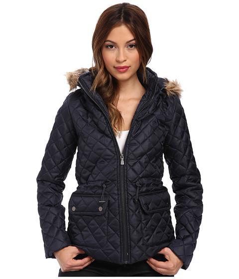 Gabriella Rocha - Quilted Puffer with Faux Fur Trim Hood (Indigo Blue) Women's Coat