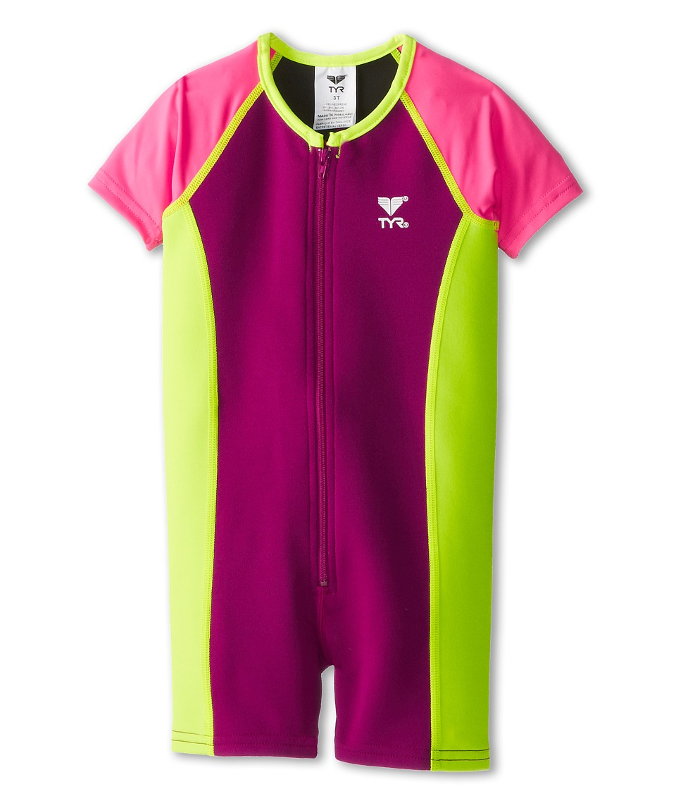 TYR - Solid Thermal (Toddler/Little Kid/Big Kid) (Pink/Yellow) Women's Swimsuits One Piece