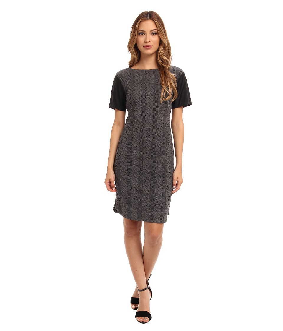 Donna Morgan - Cable Knit T-Body Dress with Side Seam Zippers (Graphite) Women