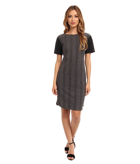 Donna Morgan - Cable Knit T-Body Dress with Side Seam Zippers (Graphite) Women's Dress