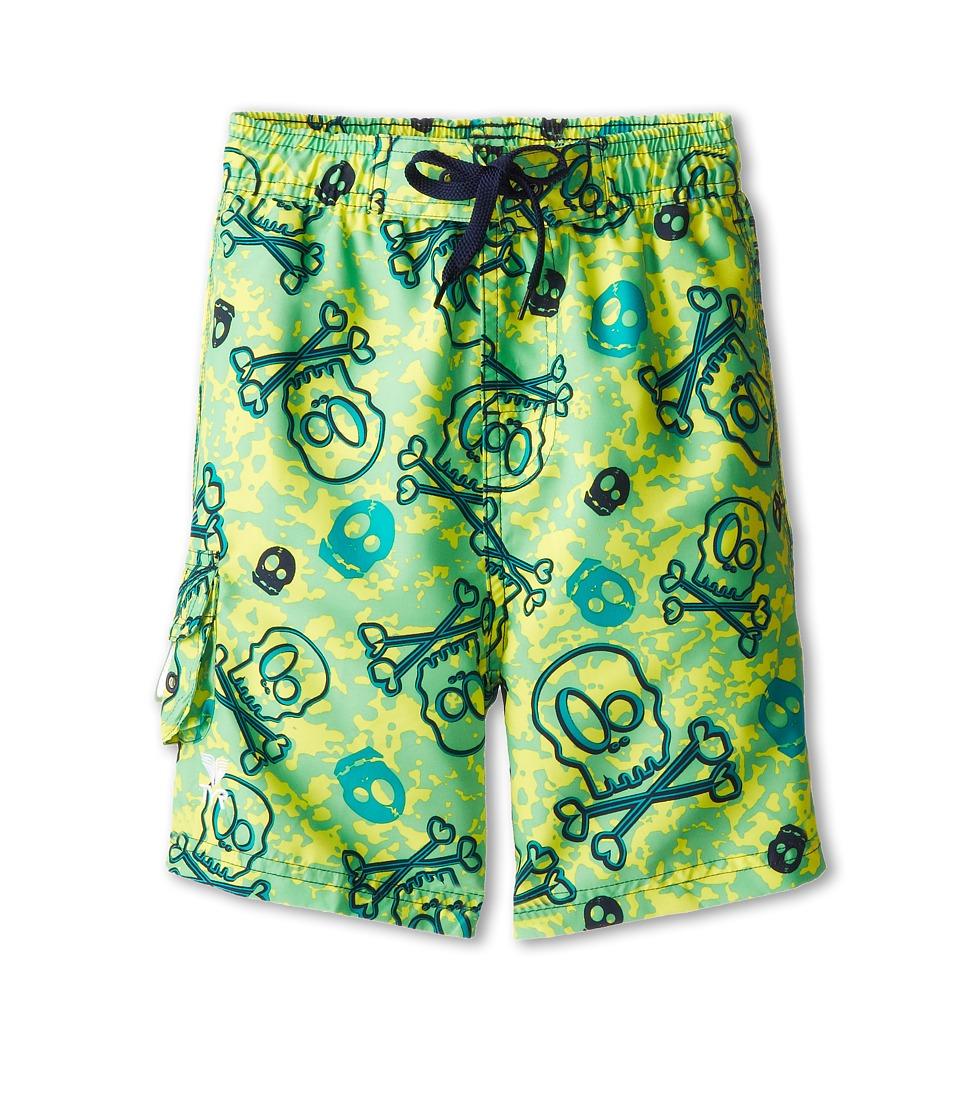 TYR - Crossbones Challenger Trunk (Little Kids/Big Kids) (Yellow/Green) Men's Swimwear