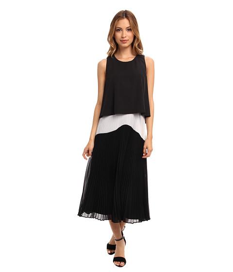 Donna Morgan - Crop Dress with Sunburst Pleating (Black/White) Women's Dress