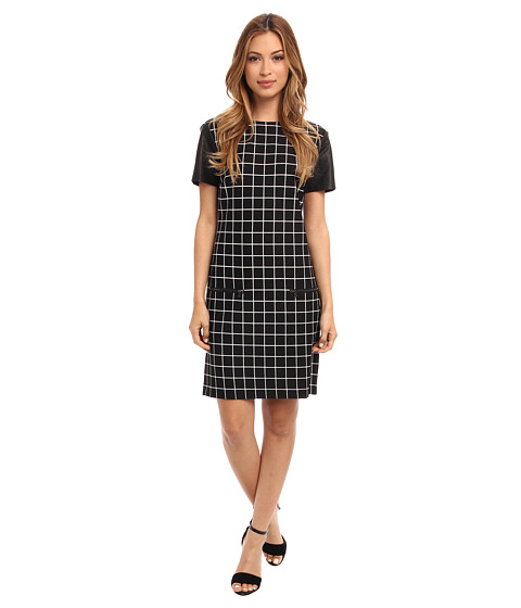 Donna Morgan - Jewel Neck Shift with Short Sleeve (Black/White) Women's Dress