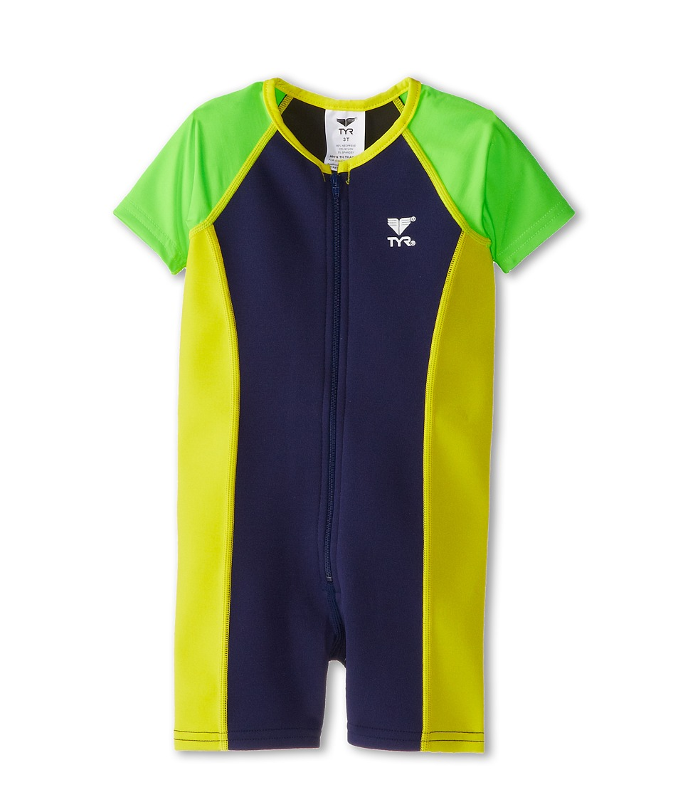 TYR - Solid Thermal (Toddler/Little Kids/Big Kids) (Navy/Green) Men's Swimsuits One Piece