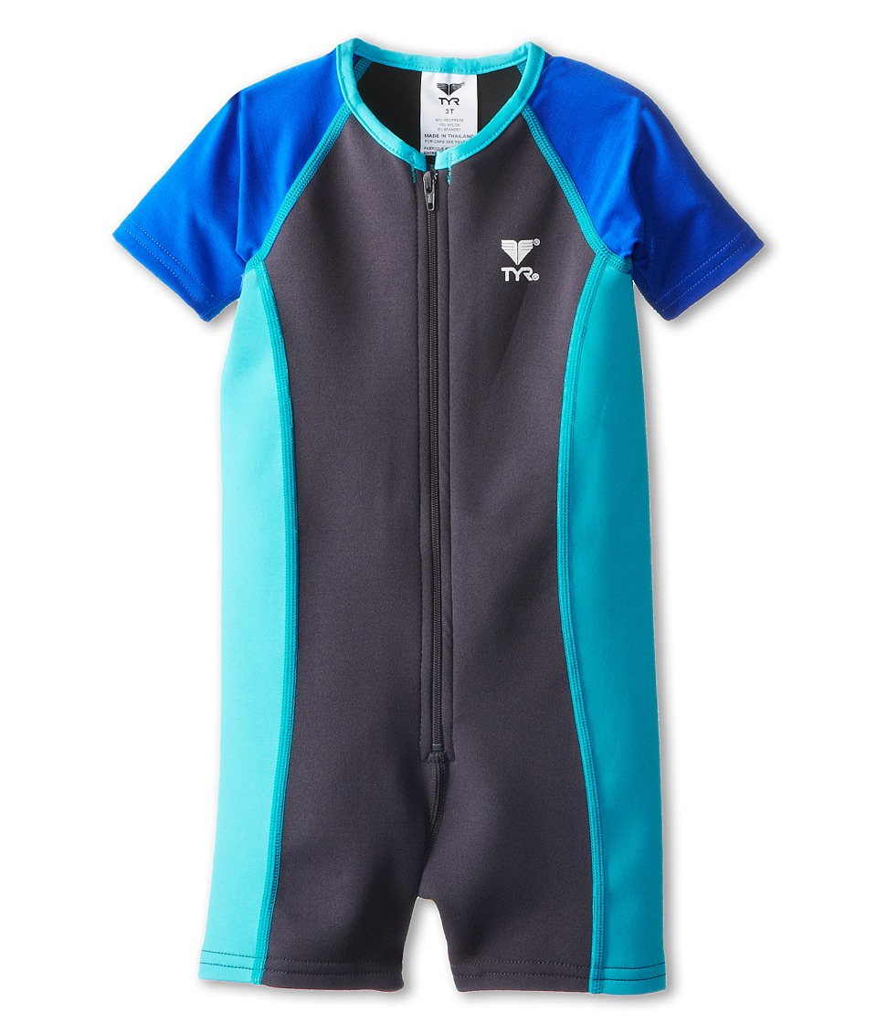 TYR Kids - Solid Thermal (Toddler/Little Kids/Big Kids) (Grey/Blue) Boy's Swimsuits One Piece