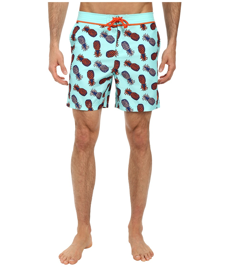 Original Penguin - Pineapple Print Volley Swim (Aruba Blue) Men
