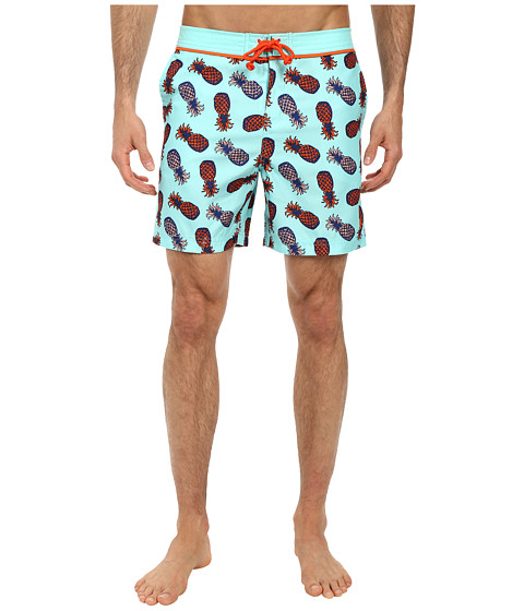Original Penguin - Pineapple Print Volley Swim (Aruba Blue) Men's Swimwear