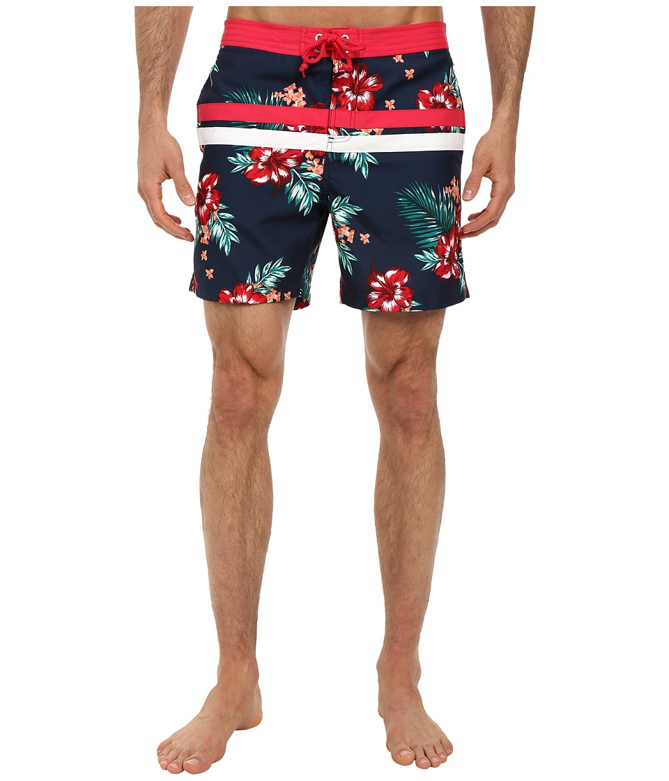 Original Penguin - Floral Print Stripe Volley Swim (Dress Blues) Men's Swimwear