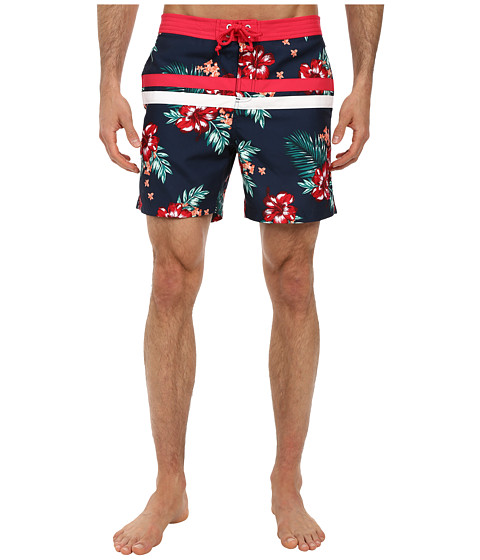 Original Penguin - Floral Print Stripe Volley Swim (Dress Blues) Men