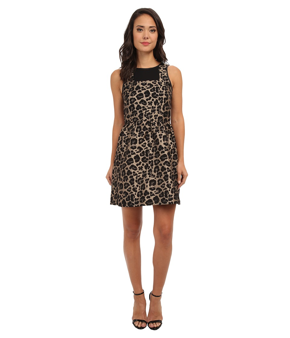 kensie Leopard Jacquard Dress KS0K7104 (Black Combo) Women