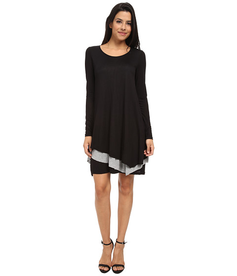 kensie - Sheer Viscose Tee Dress KSNK7234 (Black Combo) Women's Dress