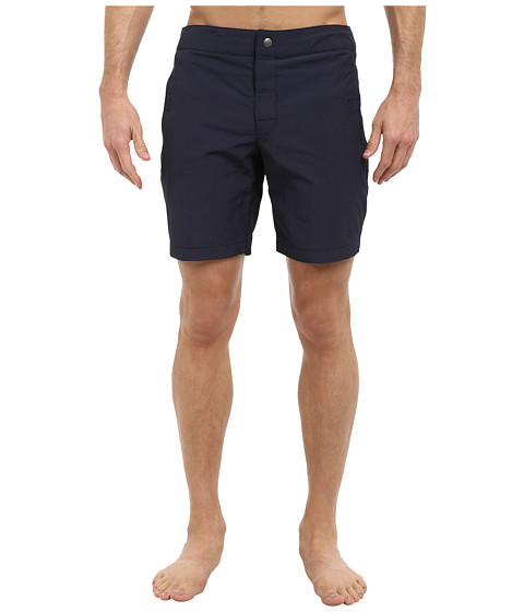 Mr.Turk - Miniature Gingham Safari Board Short (Navy) Men's Swimwear
