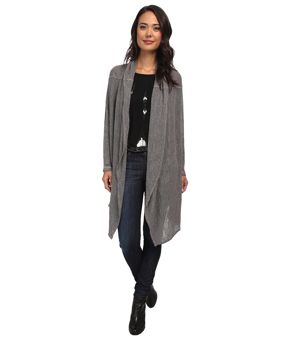 Allen Allen - Open Hooded Cardigan (Light Grey) Women's Sweater